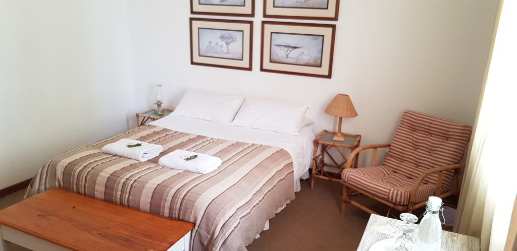 ROOM 5 HAS ONE DOUBLE BED AND SHARES A BATHROOM WITH ROOM 4. PRIVATE USE OF THE BATHROOM IS AVAILABLE AT AN EXTRA R50 PER NIGHT.